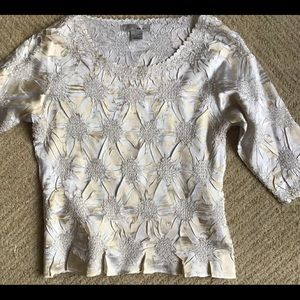 Gold and White Slinky Top